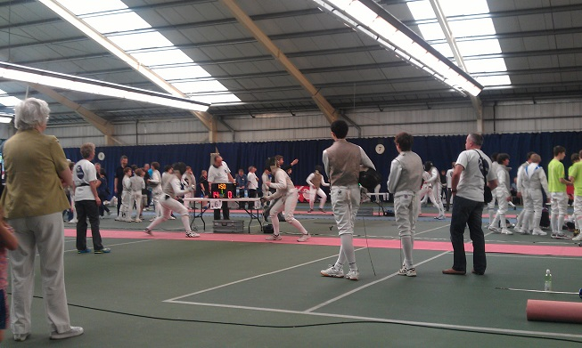 Fencers at the London Youth Games, a team competition between London Boroughs